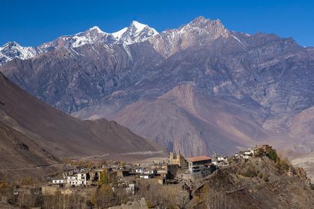 plateau: JHARKOT, NEPAL: view of the village Jharkot circa November 2013 in Jharkot. Stock Photo