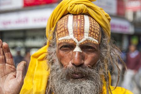 KATHMANDU, NEPAL - CIRCA NOVEMBER 2013: Sadhu on the streets of Kathmandu circa November 2013 in Kathmandu.