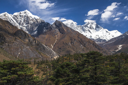 sherpa: NAMCHE BAZAR, NEPAL: view of the Himalayas (Everest, Lhotse, Ama Dablam) from near Namche Bazaar circa October 2013 in Namche Bazar.
