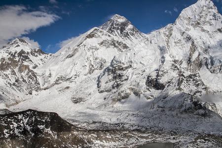 sherpa: KALA PATTHAR, NEPAL: view of the Everest and Nuptse from Kala Patthar circa October 2013 in Kala Patthar.