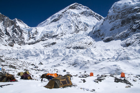 sherpa: EVEREST BASE CAMP, NEPAL: expedition at Everest Base Camp  circa October 2013 in Everest Base Camp. Stock Photo