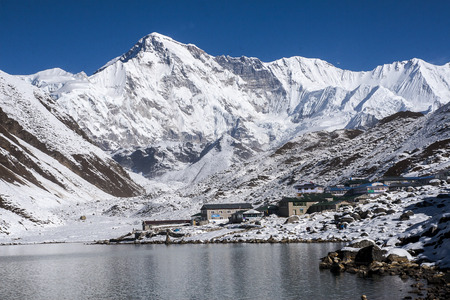 sherpa: GOKYO, NEPAL: view of Cho Oyu and the village of Gokyo circa October 2013 in Gokyo. Stock Photo