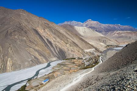 plateau: KAGBENI, NEPAL: view of the Himalayas surrounded the village Kagbeni circa November 2013 in Kagbeni.