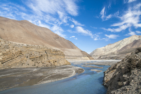 tributary: JOMSOM, NEPAL: Kali Gandaki is a river in Nepal and India, a left tributary of the Ganges circa November 2013 in Jomsom.