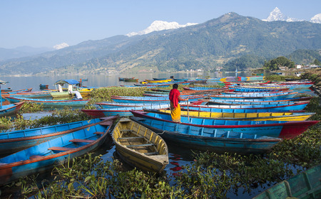 POKHARA, NEPAL - CIRCA NOVEMBER 2013: view of the lake in Pokhara circa November 2013 in Pokhara.