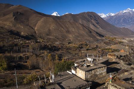 tibetan house: JHARKOT, NEPAL: view of the village Jharkot circa November 2013 in Jharkot. Stock Photo