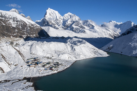 GOKYO, NEPAL - CIRCA OCTOBER 2013: beautiful view of the Himalayas and Gokyo from Gokyo Ri circa October 2013 in Gokyo. Stock Photo