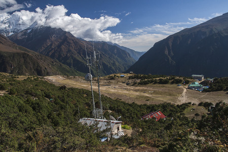 airstrip: SYANGBOCHE, NEPAL - CIRCA OCTOBER 2013: Syangboche Airport also known as Syangboche Airstrip is an unpaved airstrip serving the village of Namche Bazaar, in Solukhumbu district, Nepal circa October 2013 in Syangboche. Editorial