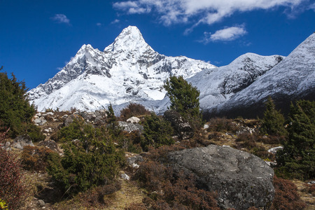 sherpa: view of Ama Dablam from Pangboche circa October 2013 in Pangboche.