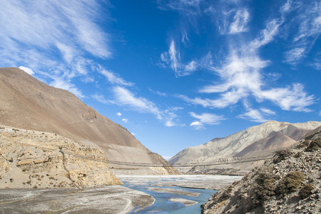 tributary: Kali Gandaki is a river in Nepal and India, a left tributary of the Ganges circa November 2013 in Jomsom. Stock Photo
