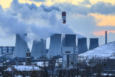 view of the power plant in Laziska Stock Photo