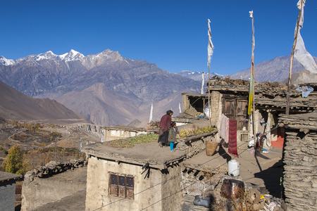 JHARKOT, NEPAL - CIRCA NOVEMBER 2013: the daily life of villagers Jharkot circa November 2013 in Jharkot.