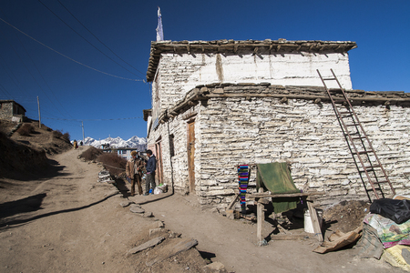 MUKTINATH, NEPAL - CIRCA NOVEMBER 2013: typical village buildings Muktinath circa November 2013 in Muktinath. Editorial