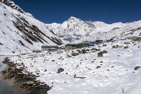 view of Cho Oyu and the village of Gokyo circa October 2013 in Gokyo.