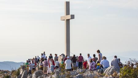 believers: HVAR, CROATIA – CIRCA SEPTEMBER 2016: Holy Mass on the top of Sveti Nikola highest on the island of Hvar circa September 2016 in Hvar.
