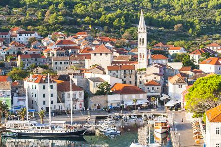 JELSA, CROATIA – CIRCA AUGUST 2016: beautiful view of the town of Jelsa on the island of Hvar in Croatia circa August 2016 in Jelsa.
