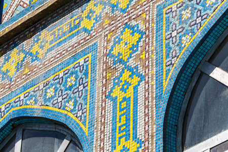DUSHANBE, TAJIKISTAN - CIRCA JUNE 2017: Mosaic of Haji Yaqub Mosque in Dushanbe circa June 2017 in Dushanbe.