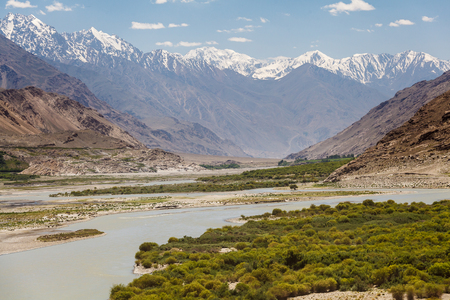 Beautiful view of the Pamir, Afghanistan and Panj River along the Wachan Corridor Stok Fotoğraf