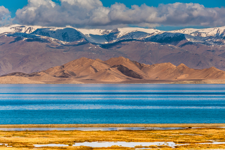 Beautiful view of  Karakul lake in Pamir in Tajikistan