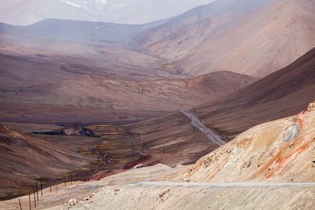 Beautiful view of Pamir mountains at  Ak-Baital Pass in Tajikistan. Stok Fotoğraf