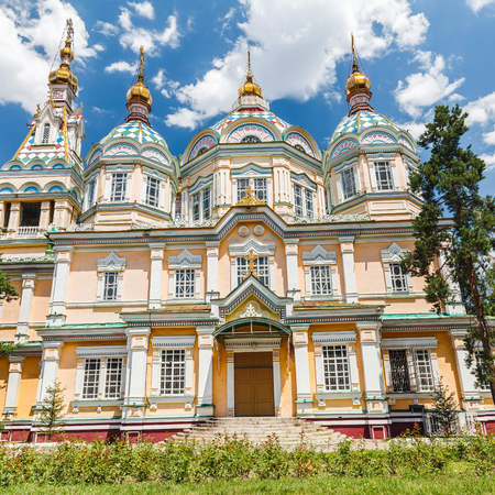 The Ascension Cathedral also known as Zenkov Cathedral a Russian Orthodox cathedral located in Panfilov Park in Almaty circa June 2017 in Almaty.