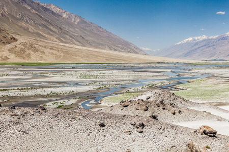 Beautiful view of the Panj River along the Wachan Corridor Stockfoto