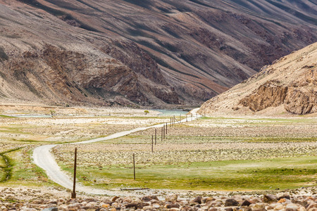 Beautiful view of the Pamir and the road along the Wachan Corridor