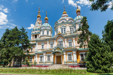 ALMATY, KAZAKHSTAN - CIRCA JUNE 2017: The Ascension Cathedral also known as Zenkov Cathedral a Russian Orthodox cathedral located in Panfilov Park in Almaty circa June 2017 in Almaty.