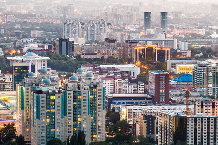 ALMATY, KAZAKHSTAN - CIRCA JUNE 2017: A panorama of the city of Almaty in Kazakhstan circa June 2017 in Almaty.