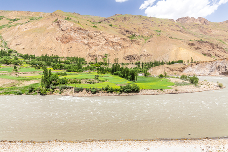 Beautiful view of the Pamir, Afghanistan and Panj River along the Wachan Corridor Stockfoto