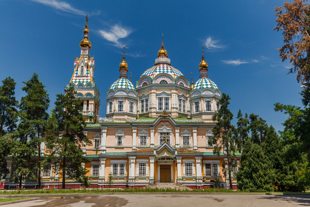 ALMATY, KAZAKHSTAN: The Ascension Cathedral also known as Zenkov Cathedral a Russian Orthodox cathedral located in Panfilov Park in Almaty circa June 2017 in Almaty.