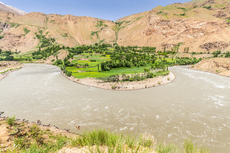Beautiful view of the Pamir, Afghanistan and Panj River along the Wachan Corridor Stock Photo