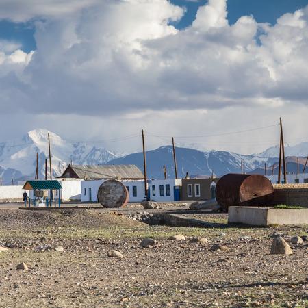 KARAKUL, TAJIKISTAN: Beautiful view of Karakul village on Lake Karkul in Tajikistan circa June 2017 in Karakul.