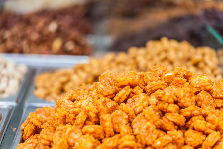 Delicious Israeli sweets at the market stall Stock Photo