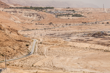 NAGEV, ISRAEL - CIRCA MAY 2018: View of road through the Negev desert circa May 2018 in Nagev. Stock Photo