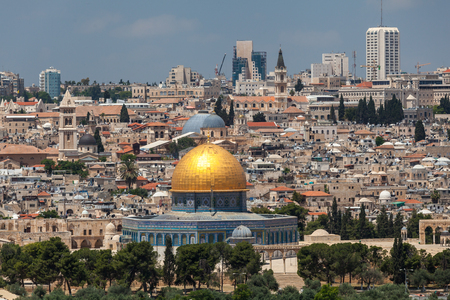 JERUSALEM, ISRAEL - CIRCA MAY 2018: wonderful panorama of the city of Jerusalem circa May 2018 in Jerusalem. Stock Photo