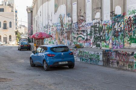 BETHLEHEM, ISRAEL - CIRCA MAY 2018: The Israeli West Bank barrier or wall circa May 2018 in  Bethlehem. Editorial