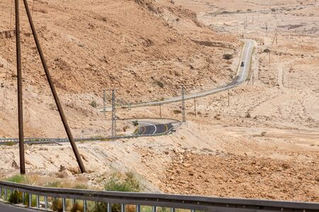 NAGEV, ISRAEL - CIRCA MAY 2018: View of road through the Negev desert circa May 2018 in Nagev. Stock fotó