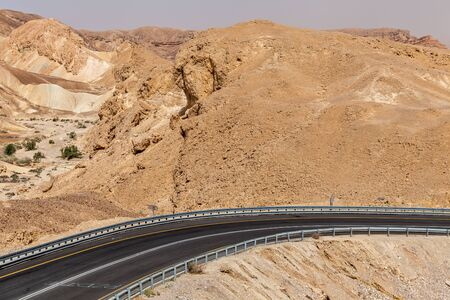 View of road through the Negev desert in Israel.