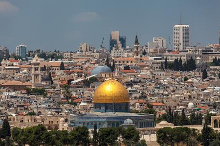 JERUSALEM, ISRAEL - CIRCA MAY 2018: wonderful panorama of the city of Jerusalem circa May 2018 in Jerusalem. Imagens - 128538926