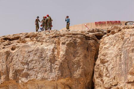 NAGEV, ISRAEL - CIRCA MAY 2018: View of climbers at Negev desert. circa May 2018 in Nagev.