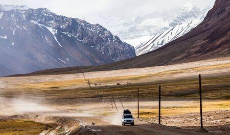 KARAKUL, TAJIKISTAN - CIRCA JUNE 2017: Beautiful view of Pamir Highway in Tajikistan circa June 2017 in Karakul.