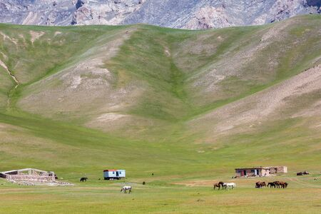 Beautiful view of the Pamir mountains in the Sary-Mogul area