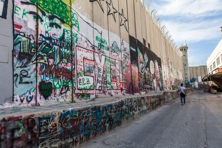 BETHLEHEM, ISRAEL - CIRCA MAY 2018: The Israeli West Bank barrier or wall circa May 2018 in  Bethlehem. Sajtókép