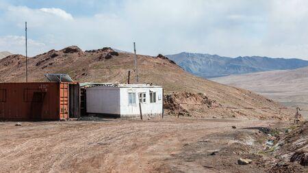 KYZYLART PASS, KYRGYZSTAN - CIRCA JUNE 2017: View of Kyzylart Pass a mountain pass and border of Tajikistan and Kyrgyzstan circa June 2017 in Kyzylart Pass.