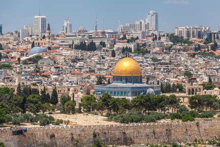 JERUSALEM, ISRAEL - CIRCA MAY 2018: wonderful panorama of the city of Jerusalem circa May 2018 in Jerusalem. Редакционное