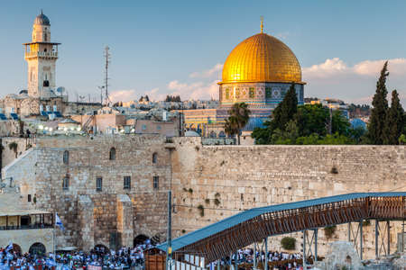 View of the Western Wall in Jerusalem, Israel circa May 2018 in Jerusalem.