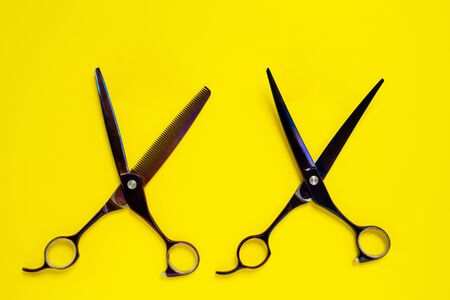 Two professional scissors, with sofisticated handles, of different shape of blades, on bright yellow background. Concept of hair care and treatment, or special grooming salons for pets. Copy space.