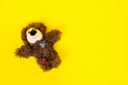 Cute stuffed toy in shape of fluffy brown smiling bear with patches lies on yellow background with its paws spread out to the sides for hugs, top view, copy space for text. Imagens