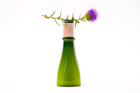Green glass bottle of natural cosmetic product covered with wooden cap on white background decorated with fresh flower of burdock, burr on stem, front view, copy space for advertising.